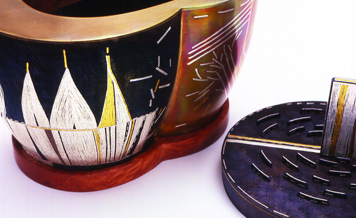 Joungmee Do, Object Container, copper, steel, gilding metal, 925 sterling silver, fine silver, pure gold, monel, H200 x Ø 120mm, W150 x W134 Ø 100mm