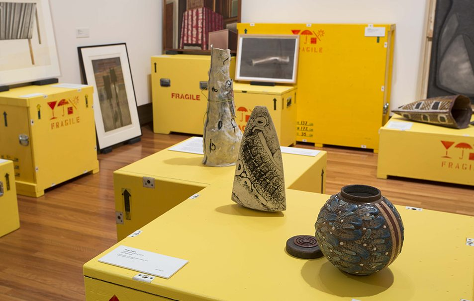 Behind the scenes of the RMIT Art Collection. Photo by Tobias Titz (2016).