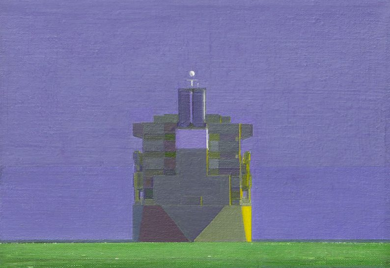 Nick Mourtzakis, Ochre ship, 1998, oil on canvas, 205 x 255mm