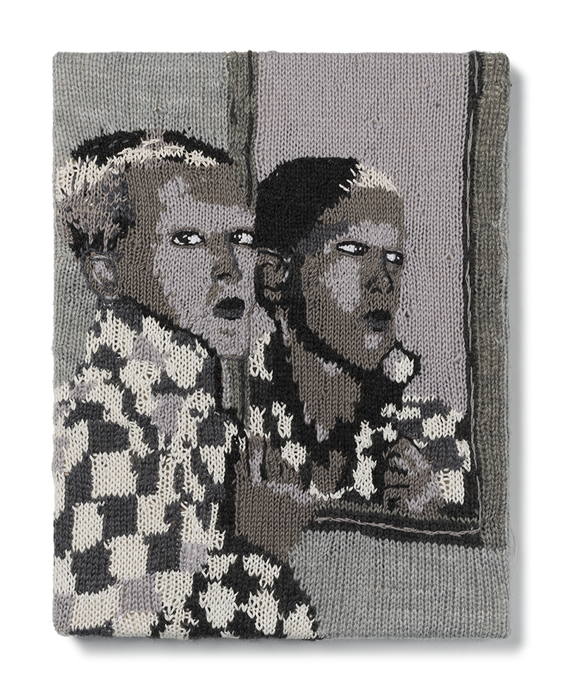 Kate JUST, RMIT University Alumni Feminist Fan #15 (Claude Cahun, Self Portrait, 1927) 2015 hand knitted wool and acrylic yarns 46 x 36 cm Courtesy of the artist